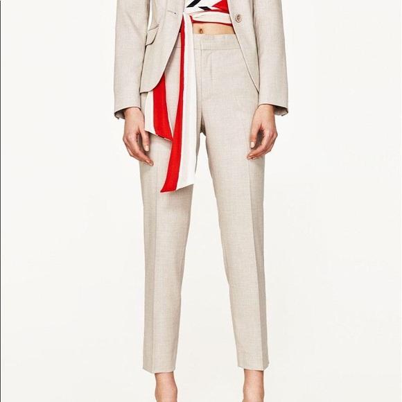 168bb11546 NWT Zara Beige Herringbone Skinny Trousers Pants NWT